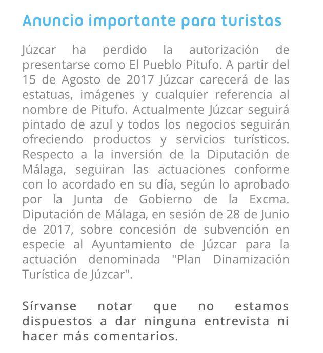 Anuncio en la propia web del Ayuntamiento de Júzcar (Málaga)