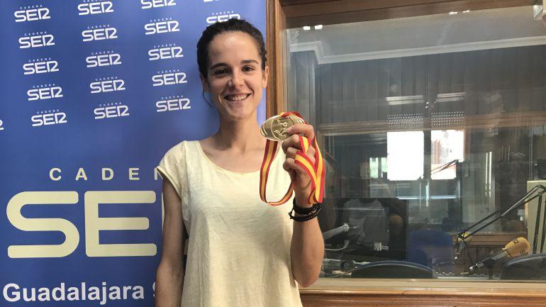Ana Lozano en SER Guadalajara con su Medalla de Oro del Campeonato de España 2017