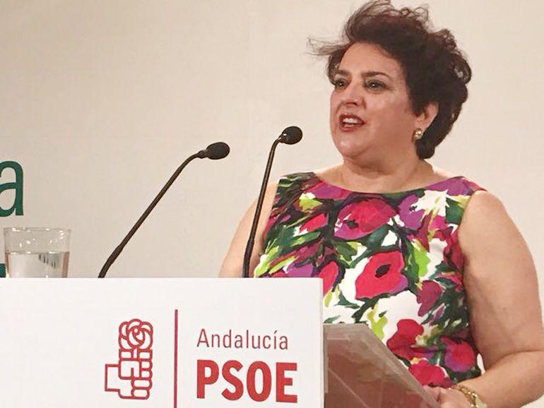 La secretaria general del PSOE de Granada, Teresa Jiménez, en la rueda de prensa en la que ha anunciado que no optará a la reelección