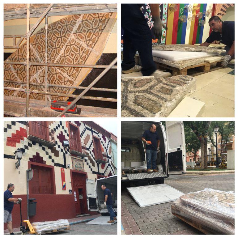 Momentos del desmontaje del mosaico en Petrer