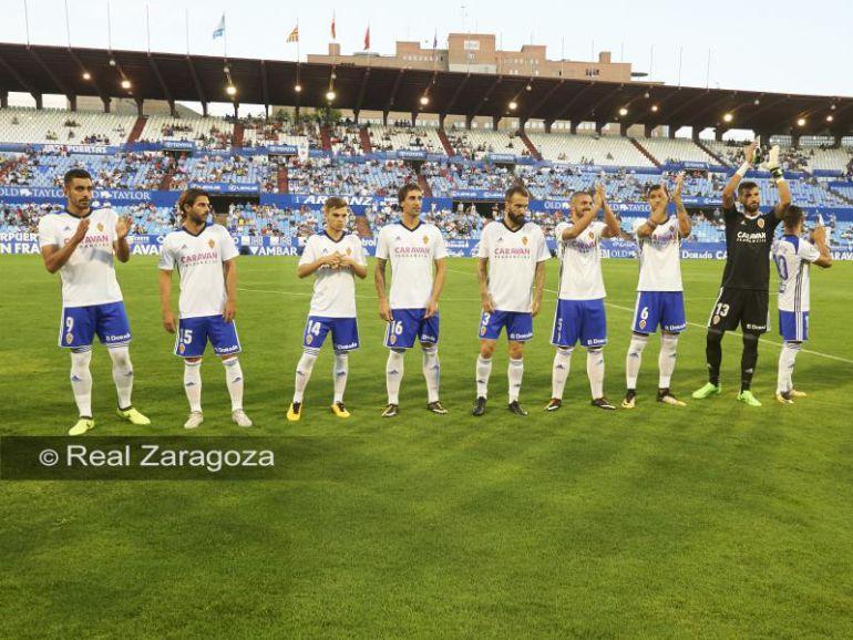 El Real Zaragoza ayer en la Romareda