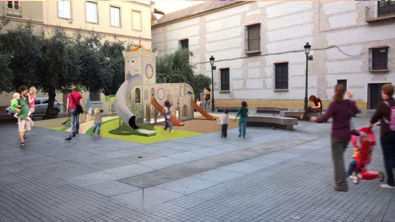 Representación del parque con temática religiosa en la Plaza de las Cofradías.