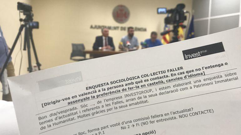Rueda de prensa para dar a conocer las preguntas realizadas en la encuesta sociológica a los falleros por parte de la Concejalía de Cultura Festiva