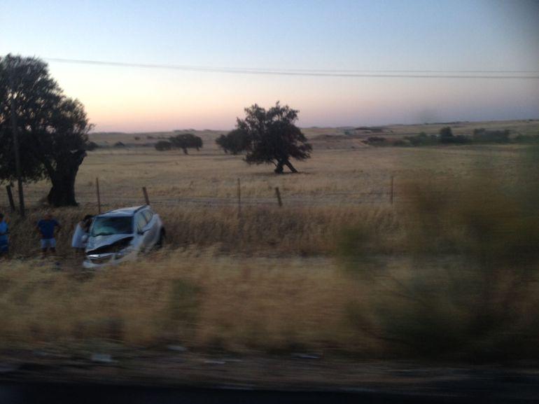 Estado en el que ha quedado uno de los vehículos del accidente de la A-423 en Pozoblanco
