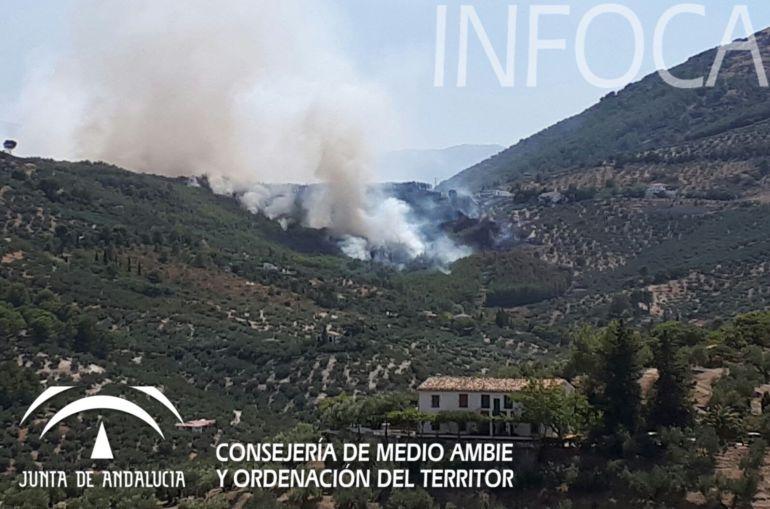 Varias viviendas desalojadas y una carretera cortada por un incendio en Los Villares