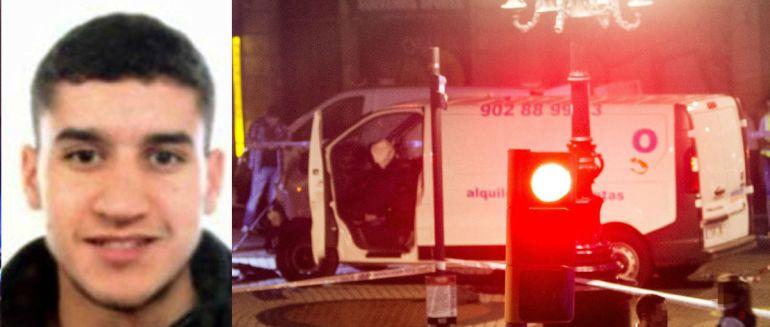 Younes Abouyaaqoub (izquierda), principal sospechoso de cometer el atropello masivo de Barcelona con una furgoneta (derecha)