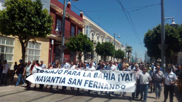 Trabajadores de Navantia San Fernando se manifiestan en las calles de la localidad isleña