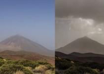 El Teide: del sol a la lluvia y luego calima en 30 segundos
