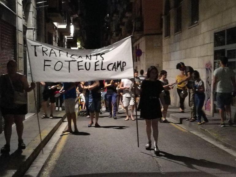 Imatge d'una de les protestes dels veïns contra els 'narcopisos' del Raval