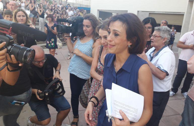 Juana Rivas, el pasado 22 de agosto, tras quedar en libertad tras declarar ante el juez de guardia.