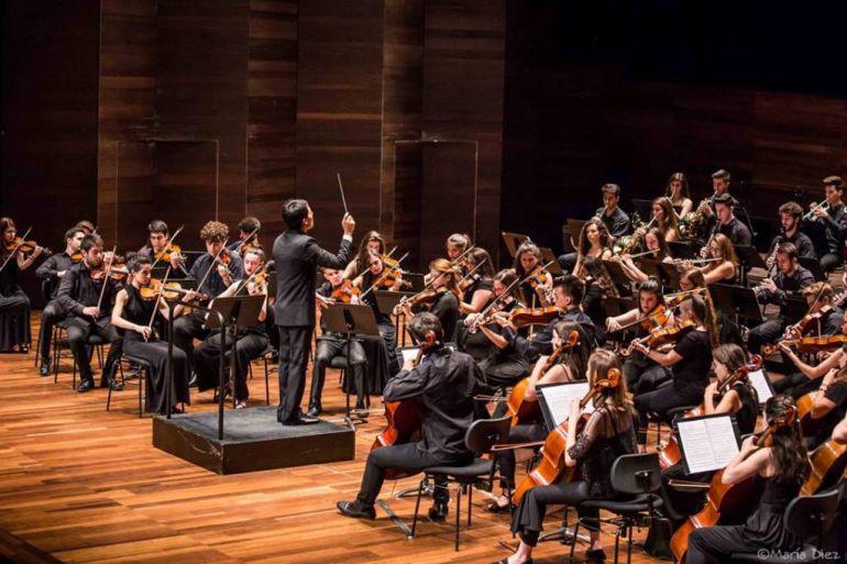 La Joven Orquesta Leonesa, durante una actuación en el Auditorio