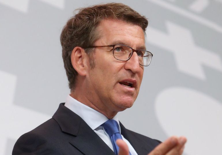 El presidente de la Xunta, Alberto Núñez Feijoo, tras la reunión semanal del gobierno gallego