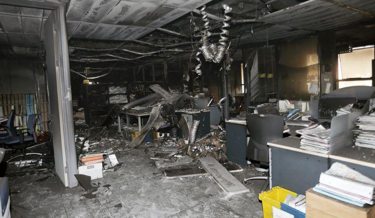 Imagen del estado en el que ha quedado el juzgado de primera instancia número 2 tras el incendio en la Ciudad de la Justicia de València