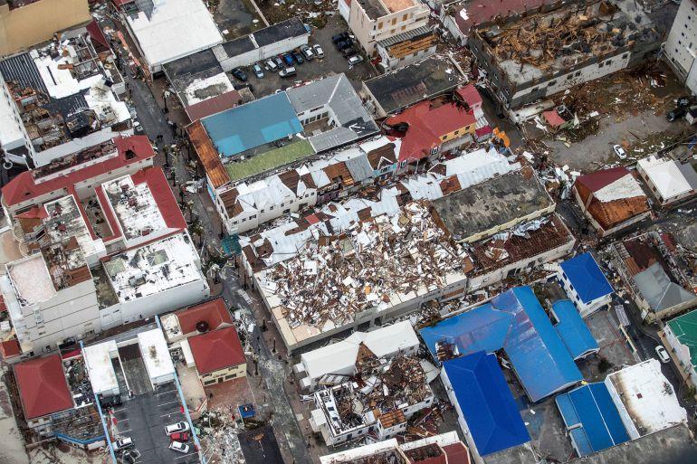 Panorámica de Saint Martin tras el huracán.