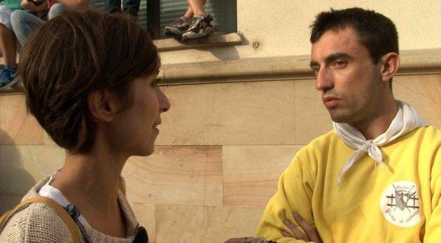 Reportera de TVE en un momento del programa grabado en Cuéllar