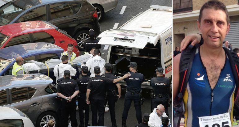 A la izquierda, funcionarios judiciales trasladan el cuerpo sin vida de una de las dos personas que han fallecido este martes en la calle Sueca. A la derecha, el policía fallecido