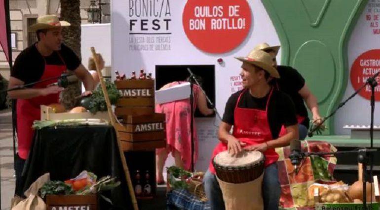 Un momento del concierto de verduras de la presentación del Bonic-a Fest