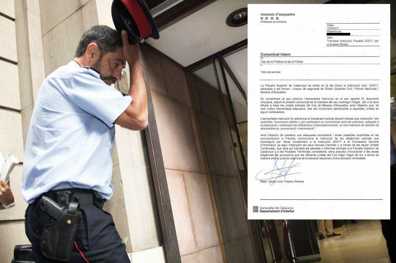 El mayor Trapero, a su llegada a la Fiscalía Superior de Cataluña, junto a la orden que ha enviado a los agentes