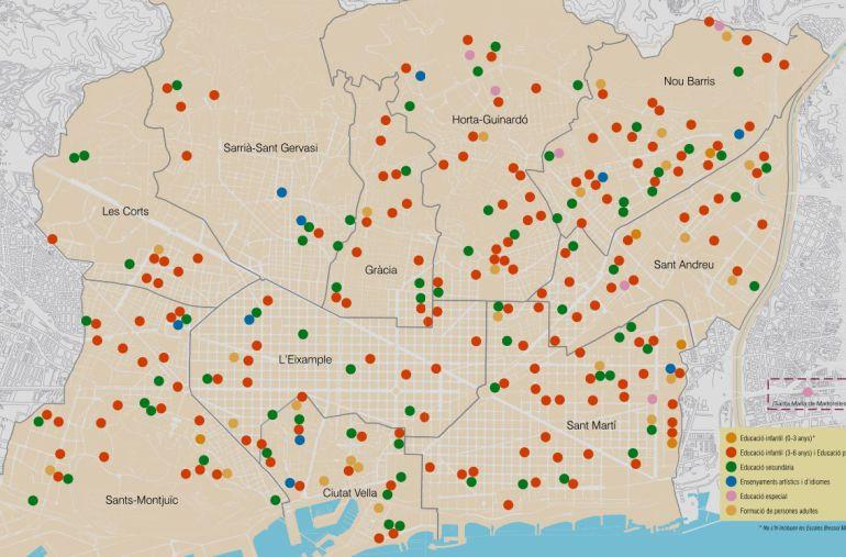 El mapa mostra els centres gestionats pel Consorci d'Educació de Barcelona