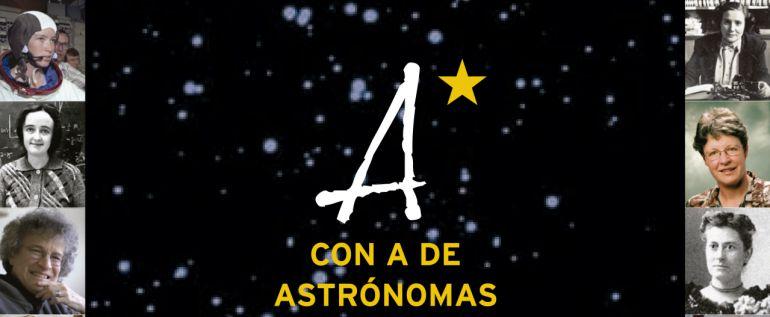 Cartel de la exposición, con A de Astrónomas