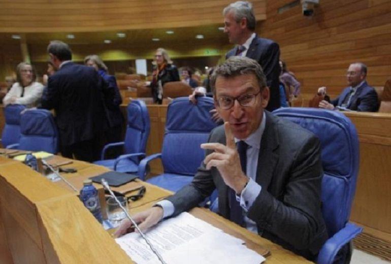 El presidente de la Xunta, Alberto Núñez Feijoo, en el Parlamento