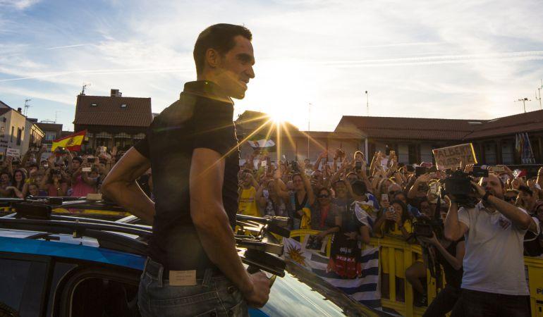 Contador a su llegada a la plaza de la Constitución