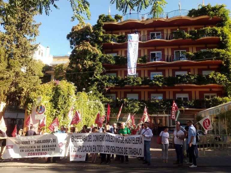 Protesta sindical de trabajadores de la hostelería