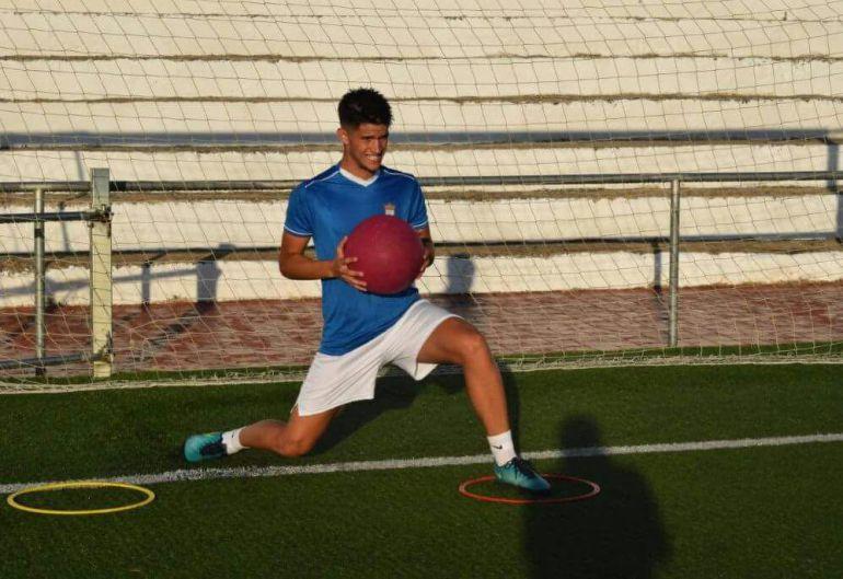 Javi Gómez durante un entrenamiento con el Xerez CD