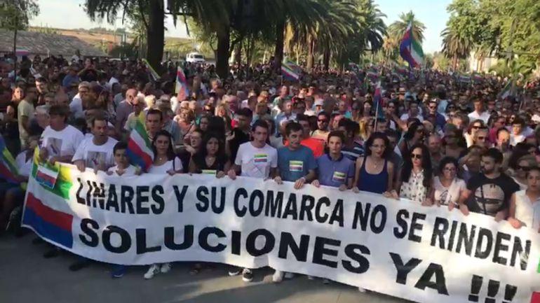 Manifestación, esta tarde, en el Paseo de Linarejos de Linares.