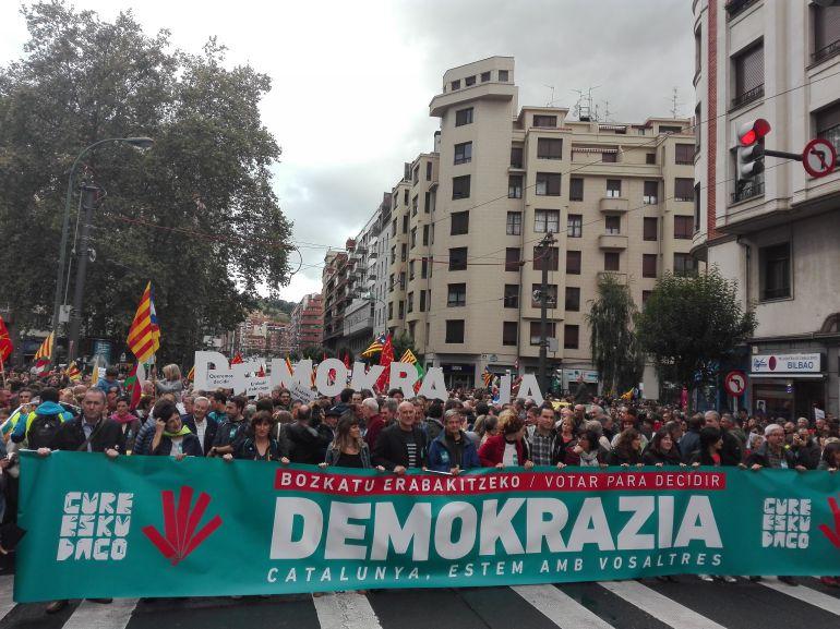 Pancarta de la manifestación de Bilbao