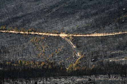 Restos del incendio de Castrocontrigo desde el mirador del Villar en Nogarejas (León)