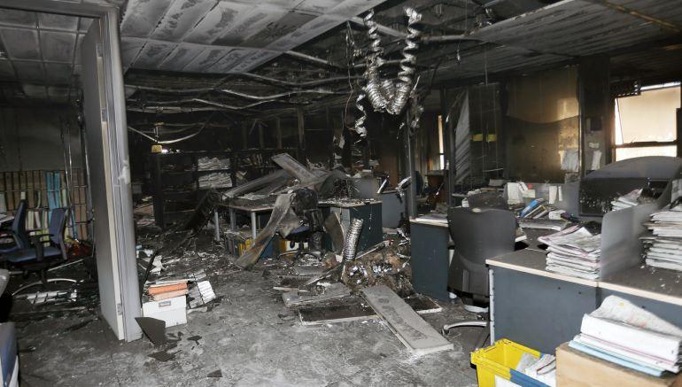 Imagen de las consecuencias del incendio en la Ciudad de la Justicia