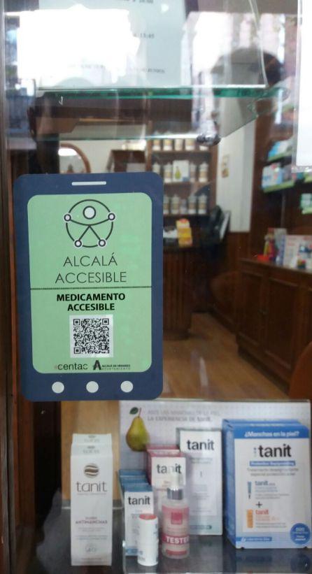 Uno de los lectores QR del Espacio Integrado Inteligente, en una farmacia de Alcalá de Henares.