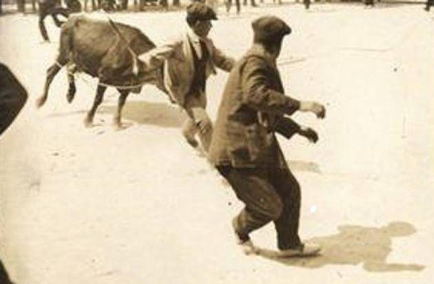 """Vaquillas en Cuenca en el año 1927. Foto publicada originalmente en el libro """"Fotografía estereoscópica de Cuenca (1858-1936)""""."""