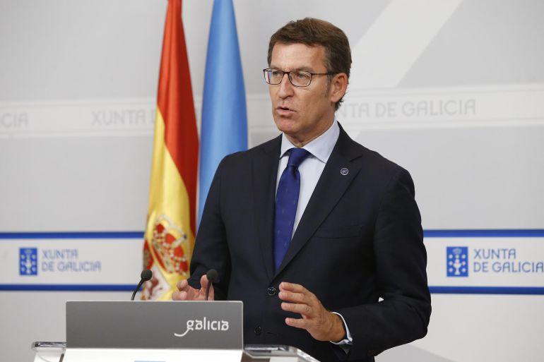 El presidente de la Xunta, Alberto Núñez Feijoo, en la rueda de prensa tras la reunión semanal del gobierno gallego