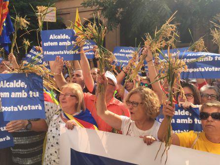 Els veïns d'Amposta que s'han desplaçat a Tarragona duien garbes d'arròs a les mans.