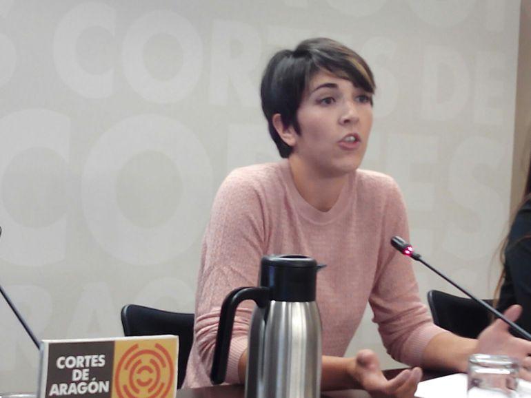 Violeta Barba durante una comparecenia ante los medios de comunicación