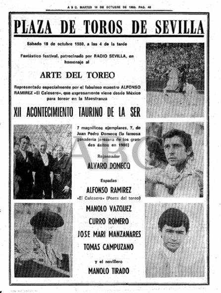 Anuncio en prensa del XII Acontecimiento Taurino de la SER