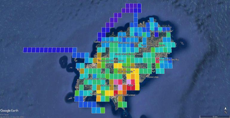 Mapa de la contaminación lumínica en Ibiza