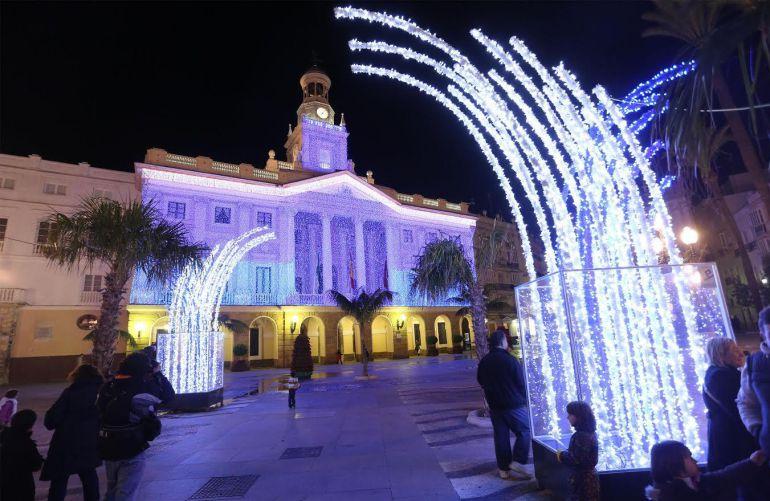 La plaza de San Juan de Dios con iluminación extraordinaria de Navidad hace años