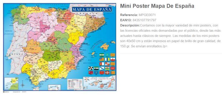 Mapa de España, actualmente en venta