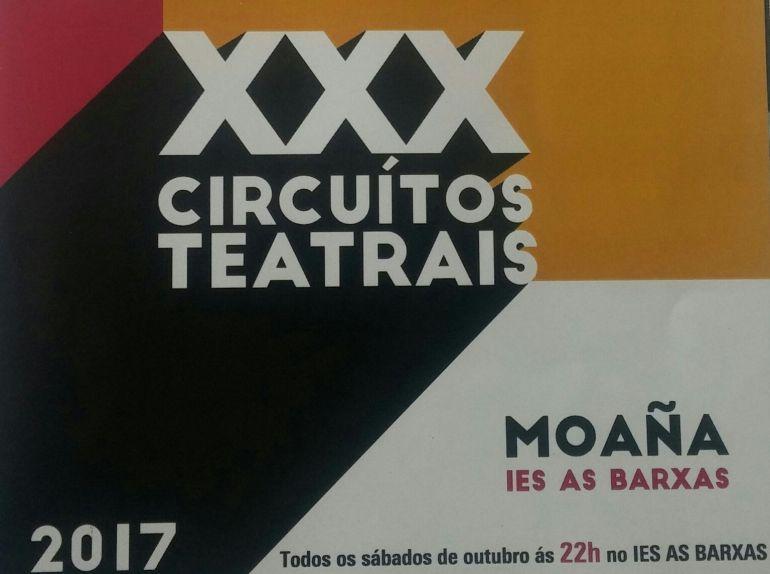 Cartel de la trigésima edición de los Circuítos Teatrais de Moaña.