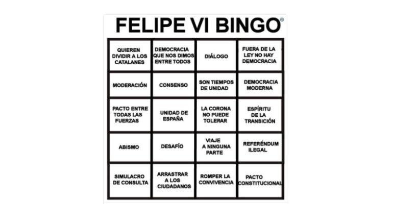 Bingo de Felipe VI publicado por Lord Black Adder en Twitter