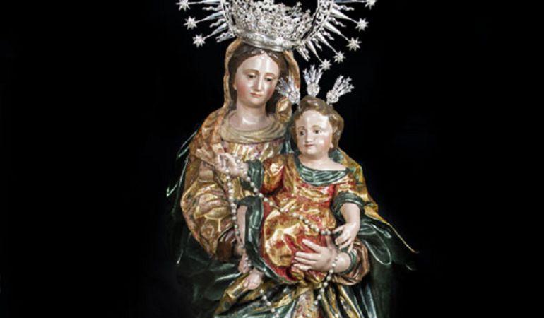 La imagen de la Virgen del Rosario tras su restauración en Musae