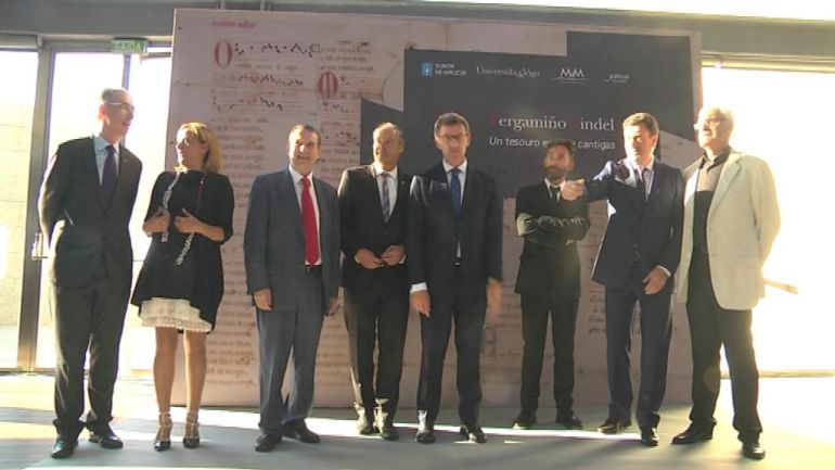 Abel Caballero, Salustiano Mato y Alberto Núñez Feijóo presidieron la inauguración de la exposición del Pergamino Vindel.