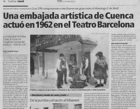 Reportaje sobre la Casa de Cuenca en barcelona publicado en El Día de Cuenca el 1 de abril de 2012.