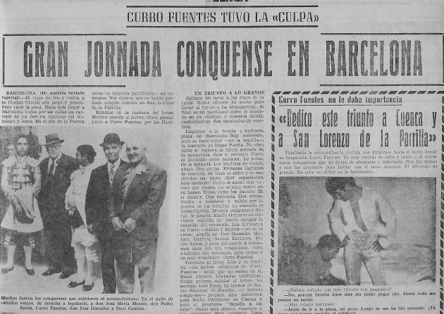 Noticia de la alternativa de Curro Fuentes en la Gaceta Conquense.