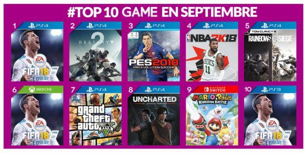 Los diez juegos más vendidos en España en septiembre