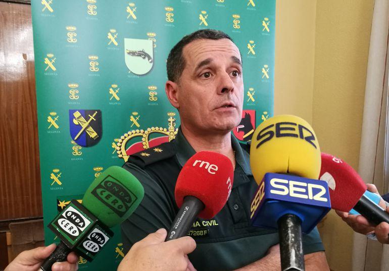 El teniente coronel de la Guardia Civil en Segovia José Luis Ramírez durante su comparecencia ante los medios