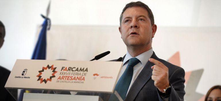 El presidente de Castilla-La Mancha, Emiliano García-Page, durante su intervención en la inauguración de la XXXVIII Edición de la Feria de Artesanía de Castilla-La Mancha (Farcama).